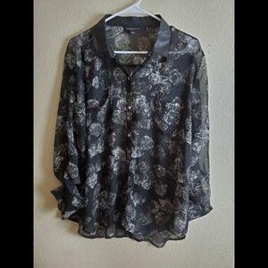 Rock & Republic Black Sheer Floral Goth Button Top